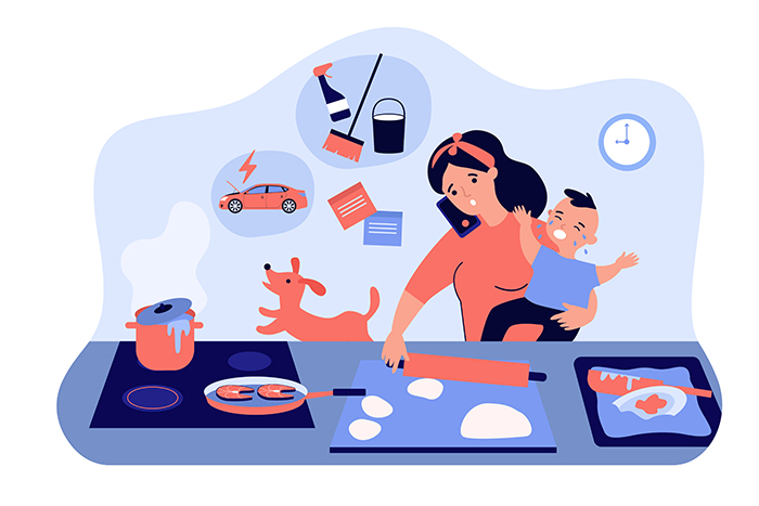 managing house chores with baby